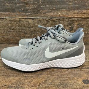 Nike revolution gray and white sneakers
